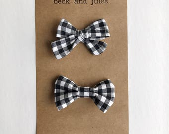Buffalo check bow tie and hair clip/headband Sibling Set