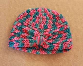 Hand crocheted baby beanie hat fits head up to 15 inches.