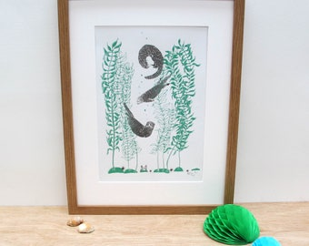 Otter and kelp art print featuring a group of otters in a sea of kelp.