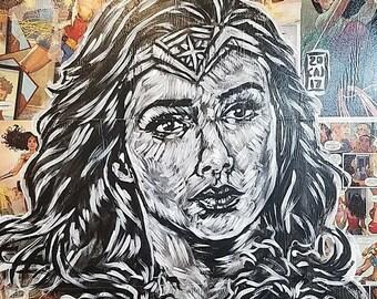 Wonder Woman comic board painting