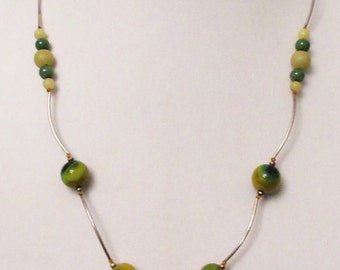 Garage...Onyx Agate Yellow Green, Handmade Reversible Necklace, Silverplated Noodle Necklace, Multicolor Natural Gems, Healing Gemstones