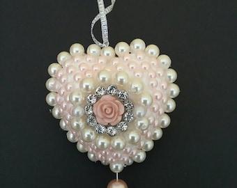 Christmas decoration, victorian style christmas decoration, Wedding decoration, christmas bauble, pearl heart