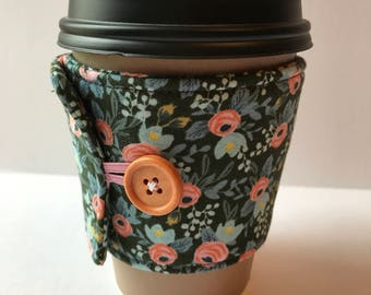 Floral Fabric Coffee Cozy -Evergreen Floral Cup Sleeve -  Reusable Cup Sleeve - Cup Cozy - Gift Idea