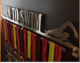 BORN TO SWIM-Male | Medal Holder-medal hangers-display Rack-medals-medal holders-medal display