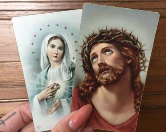 Set of Two Vintage Prayer Cards/ Funeral Cards