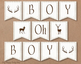 Deer Baby Shower Banner, Boy Oh Boy. Woodland, Horns, Antlers, Boy Shower - Printable - INSTANT DOWNLOAD, Digital file (11 Flags) - BSB005