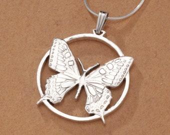 "Sterling Silber Butterfly Pendant, Hand Cut Slovakian Butterfly Coin, Butterfly Jewelry, 1 1/4"" in Diameter, ( # 605S )"