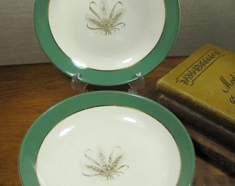 Taylor Smith Taylor - Coupe Soup Bowls - Green Rim - Golden Wheat - Set of Two (2)