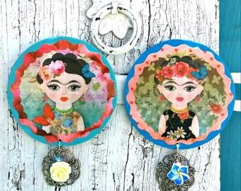 Frida Kahlo Large Wood Magnet, FriDa MaGnets, Refrigerator MaGNet, Fridge MagNet, Mexican Folkart, FrIda Gift