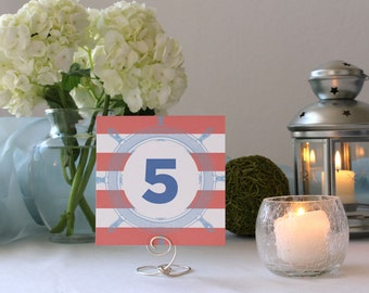 Nautical Table Wedding Table Number Marker Square Sea Ship Ocean Summer