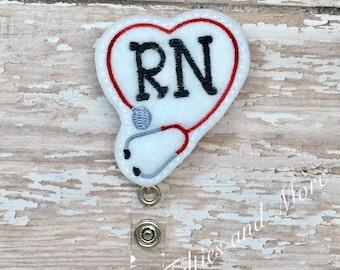 Stethoscope Badge Reel, Badge Reel, Nurse Badge Reel, RN Badge Reel, ID Badge,  Nurse Stethoscope Badge Reel, Retractable Badge Reel