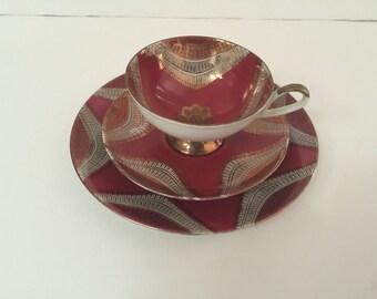 Vintage Tea Cup Trio ~Art Deco Design~Tea Cup, Saucer and Luncheon Plate~ GKC Gareis, Kuhl & Cie Bavaria ~Wedding Place Setting ~ Bridal Tea