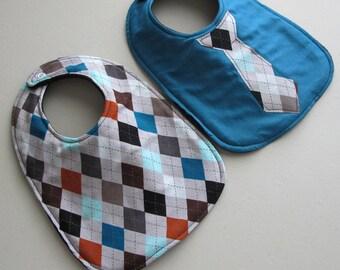 Baby Bib boy tie- Infant 2 pack Gift Set - Argyle and Teal