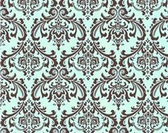 Madison Brown French Blue Premier Prints Fabric - One Yard - Blue and Brown Home Decor Fabric