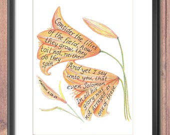 Consider the lilies scripture design print 8x10