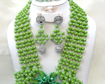 PrestigeApplause Green & Silver Signature Design African Beads Necklace Jewellery Set
