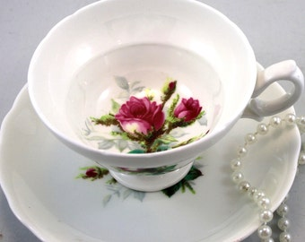 Hammersley, Beautiful,Footed Duo, Floral Pattern on White background, Bone English China made in 1960s.
