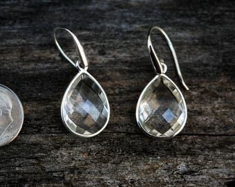 Clear Quartz Dangle Earrings, Crystal Quartz, Crystal Clear Quartz Checkerboard Clear Quartz earrings - Clear Quartz Dangle Earrings Crystal