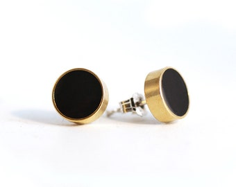 Black and Gold Brass and Resin Circle Stud earrings