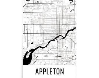 Appleton Map, Appleton Art, Appleton Print, Appleton WI Poster, Appleton Wall Art, Map of Appleton, Appleton Gift, Appleton Decor, Map Art