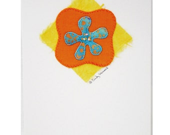 Handmade Greeting Card - Turquoise, Orange, Flower
