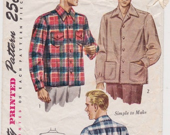 Simplicity 1961, 1940s Men's Casual or Lumberjack Shirt Vintage Sewing Pattern Size Medium, Neck 15-15 1/2, Complete Cut