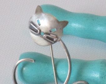 Modernist Sterling Silver Cat Brooch