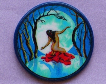 FULL MOON Witch Woman Talisman Amulet Wicca Pagan Gothic