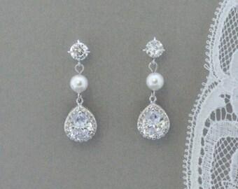 Teardrop Bridal Earrings, Crystal Wedding Earring, Bridal Jewelry, Wedding Jewelry, Prom Earrings, BETH