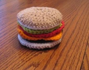 Crocheted Cheeseburger Play Food/Coasters