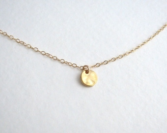Gold Disc Necklace, Tiny Circle Necklace, Gold Circle Necklace, Gold Dot Necklace, Gold Minimalist Necklace - Gold or Silver