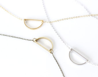 Half circle necklace Geometric Necklace Modern Necklace Crescent Necklace Architectural Necklace Modern Necklace
