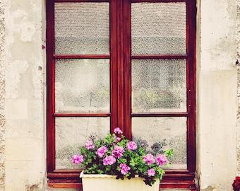 Paris Photograph, travel photography, shabby chic wall decor, french country decor,  window art, wall art, art prints, Giverny Windowsill