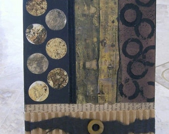 collage art, paint and paper, small work of art, mixed media art, browns and black