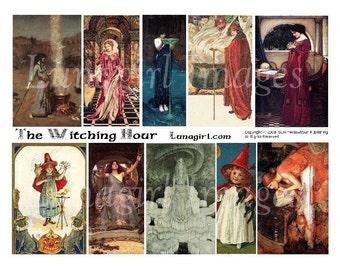 Téléchargement FATIDIQUE heure collage numérique feuille magique gothique femmes filles sorcières déesse contes de fées victorienne Vintage Halloween éphémères d'art