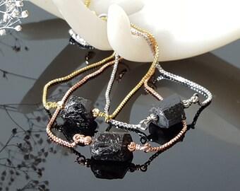 Raw black tourmaline bracelet Crystal healing spiritual EMF protection amulet bolo slide bracelet minimalist jewelry silver rose gold chain