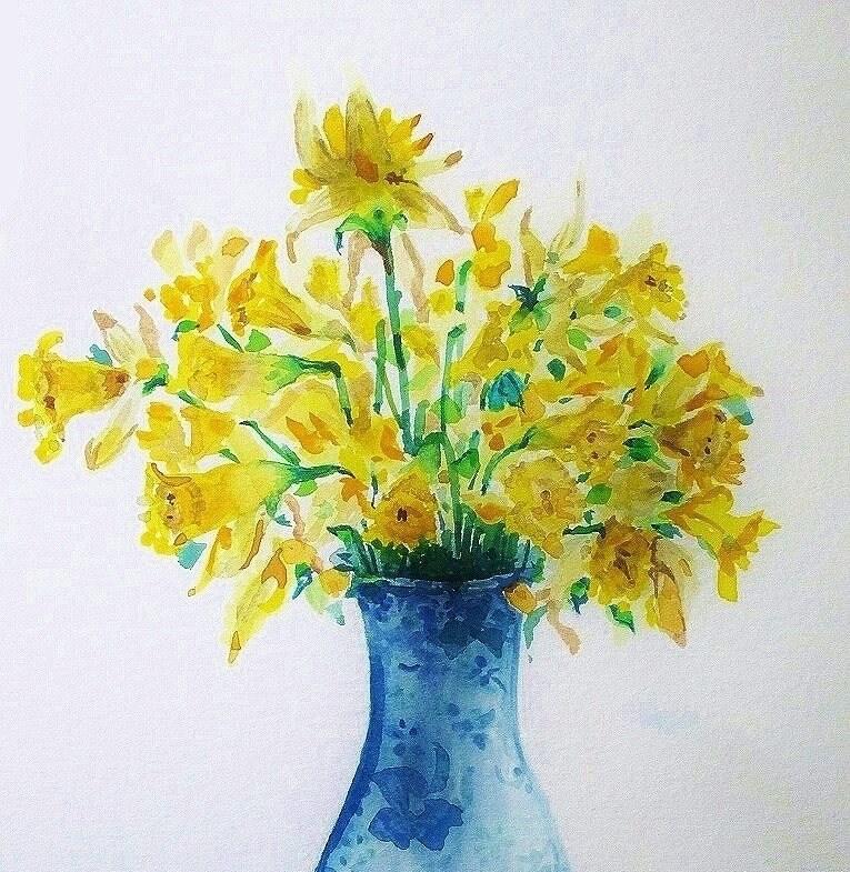 Aquarelle fleur bouquet fleurs jonquilles jaunes pour for Bouquet de fleurs jaunes