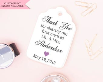 Thank you for sharing our first meal as mr and mrs tags (30) - Wedding favor tags - Wedding tags - Rehearsal dinner favors