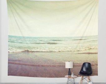 high quality wall tapestry large size wall art. ocean sea tapestry, dreamy, nursery decor beach nautical beige fawn purple blue yellow