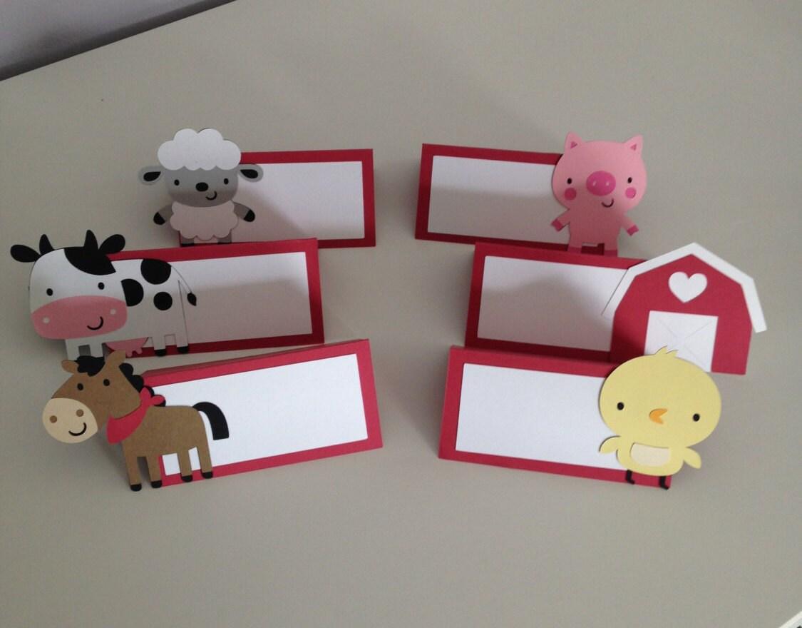 12 Farm Animal Place Cards / Farm Animal Food Table Card Farm