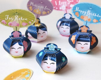Asiatic dolls treat boxes Printable, Geishas, Kokeshi japanese dolls for girl birthday party, set of 5 cute favor box + editable tags