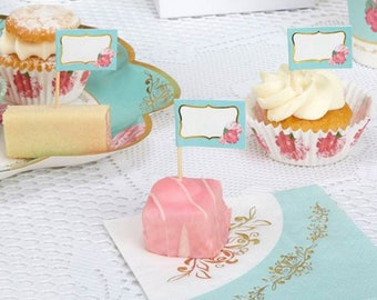 Eternal Rose Cupcake Picks ,shabby chic,tea party,wedding,tableware,china look