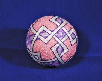 Rattling Temari Ball Ornament Purple and Lavender on Pink Home Decor Wedding Gift