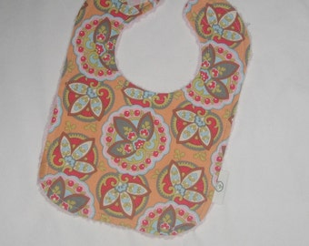 Amy Butler Apricot Lotus Star Paisley and Chenille Boutique Bib - SALE