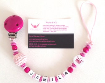 Personalized pacifier clip girl pink and light crochet little princess Crown