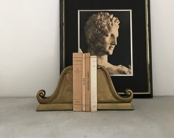 Neoclassical Brass Bookends vintage mid century home bookcase decor