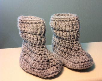 Gray Baby Boots with Foldover Cuffs