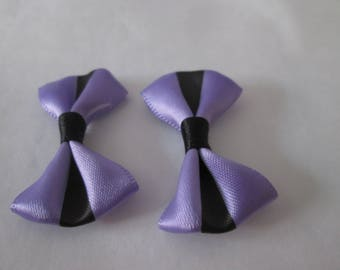 2 cute bows purple and black satin 37 x 25 mm