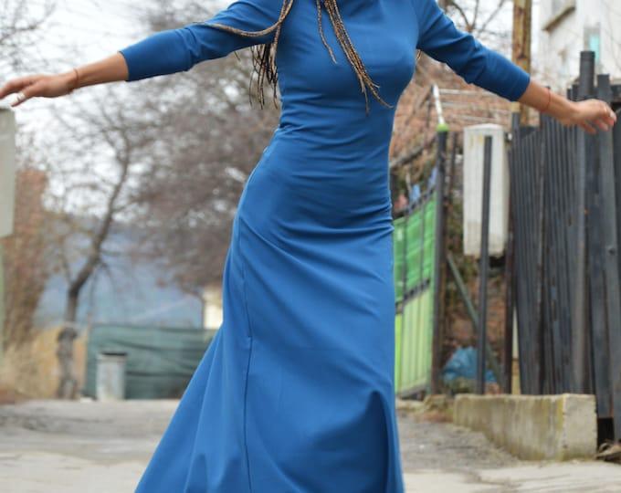 Maxi Dresses, Blue Elegant Long Summer Dress, Cotton Extravagant Dress, Plus Size Dress, Daywear Kaftan by SSDfashion