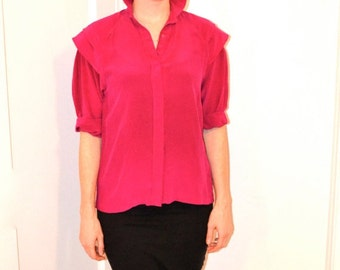 Vintage Pink Silk Shirt Size Small Medium with Shoulder Detailing 80s Silk Shirt Pink